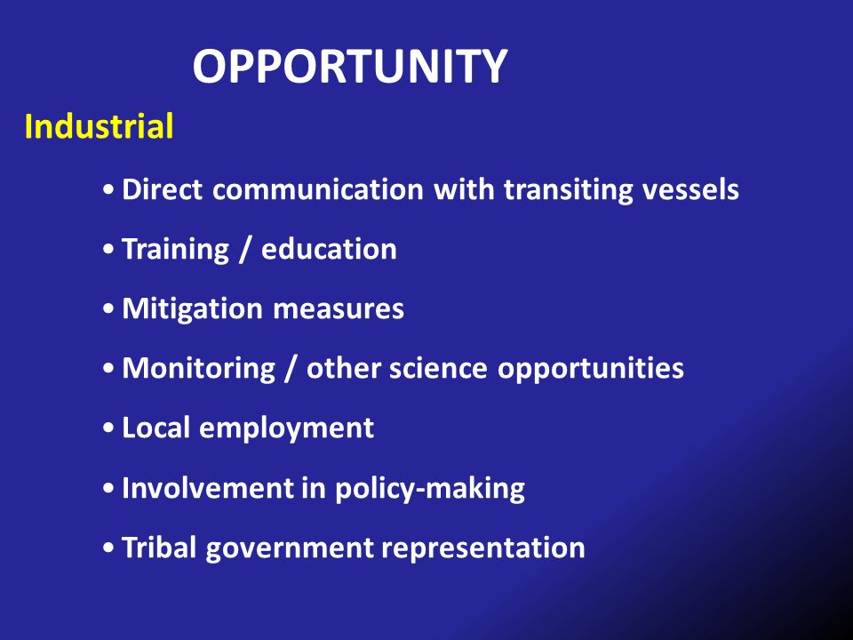 OPPORTUNITY Industrial Direct communication with transiting vessels