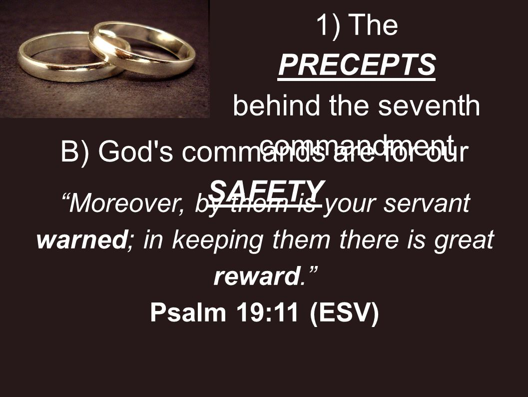 1) The PRECEPTS behind the seventh commandment