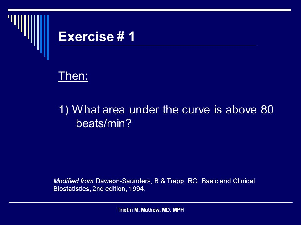 Exercise # 1 Then: 1) What area under the curve is above 80 beats/min