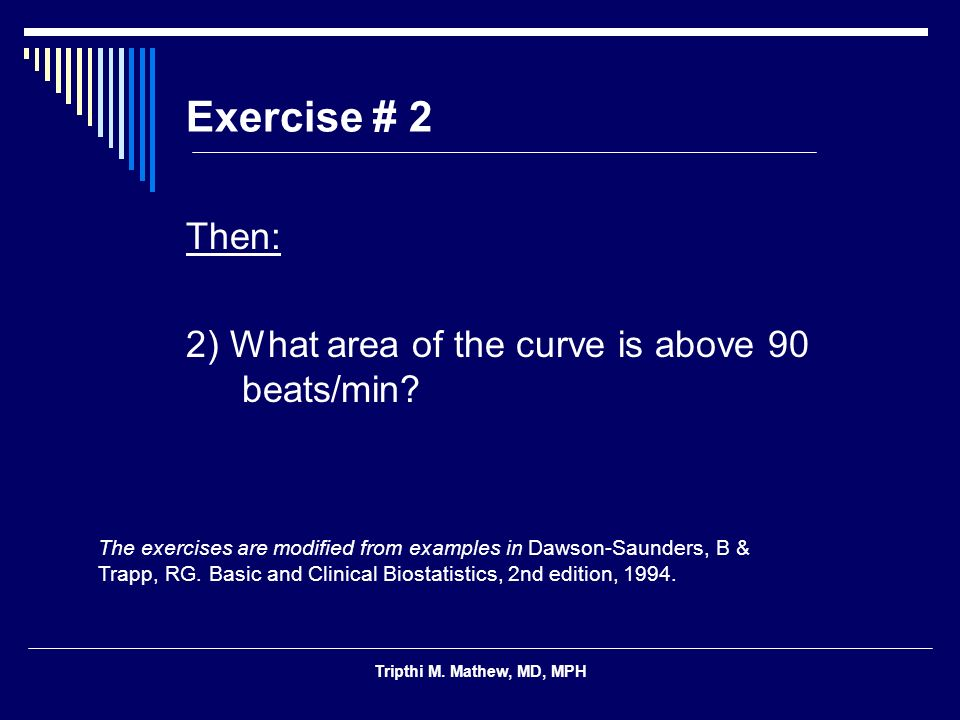 Exercise # 2 Then: 2) What area of the curve is above 90 beats/min