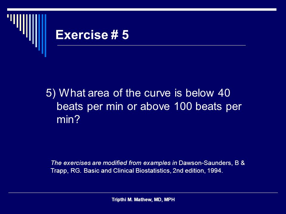 Exercise # 5 5) What area of the curve is below 40 beats per min or above 100 beats per min