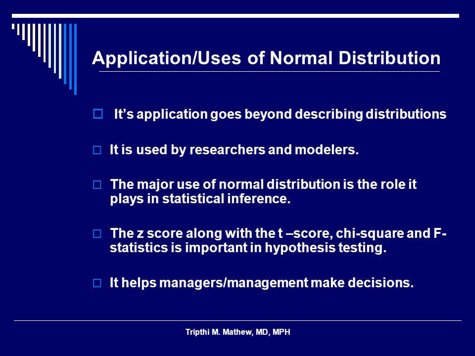 Application/Uses of Normal Distribution