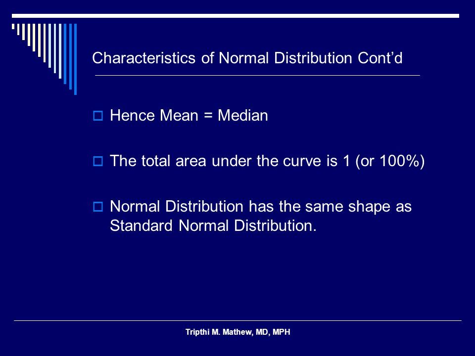 Characteristics of Normal Distribution Cont'd