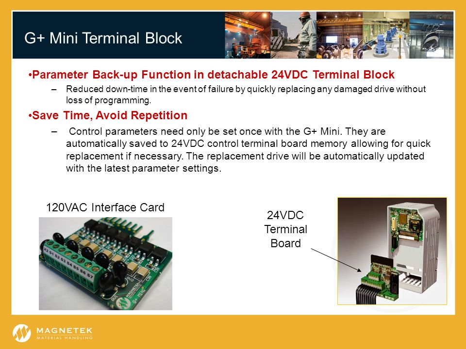 G+ Mini Terminal Block Parameter Back-up Function in detachable 24VDC Terminal Block.