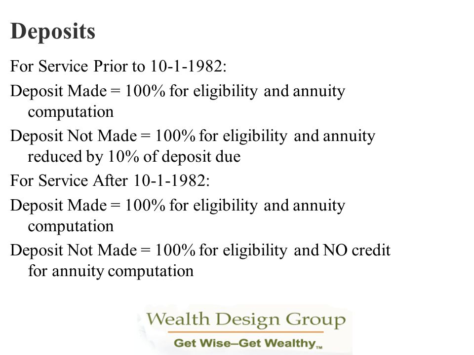 Deposits For Service Prior to 10-1-1982: