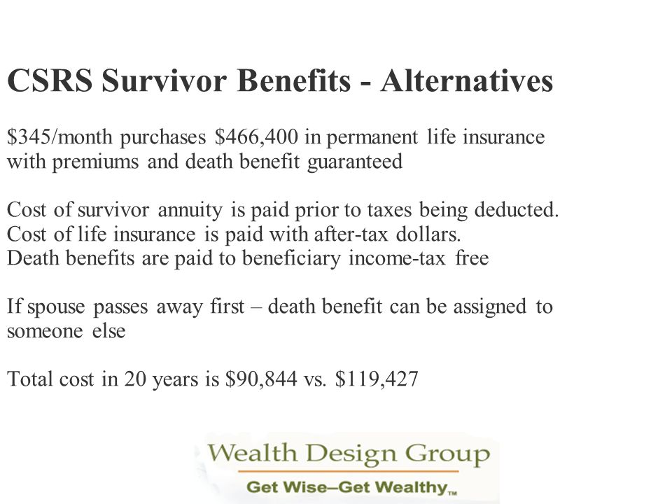 CSRS Survivor Benefits - Alternatives $345/month purchases $466,400 in permanent life insurance with premiums and death benefit guaranteed Cost of survivor annuity is paid prior to taxes being deducted.
