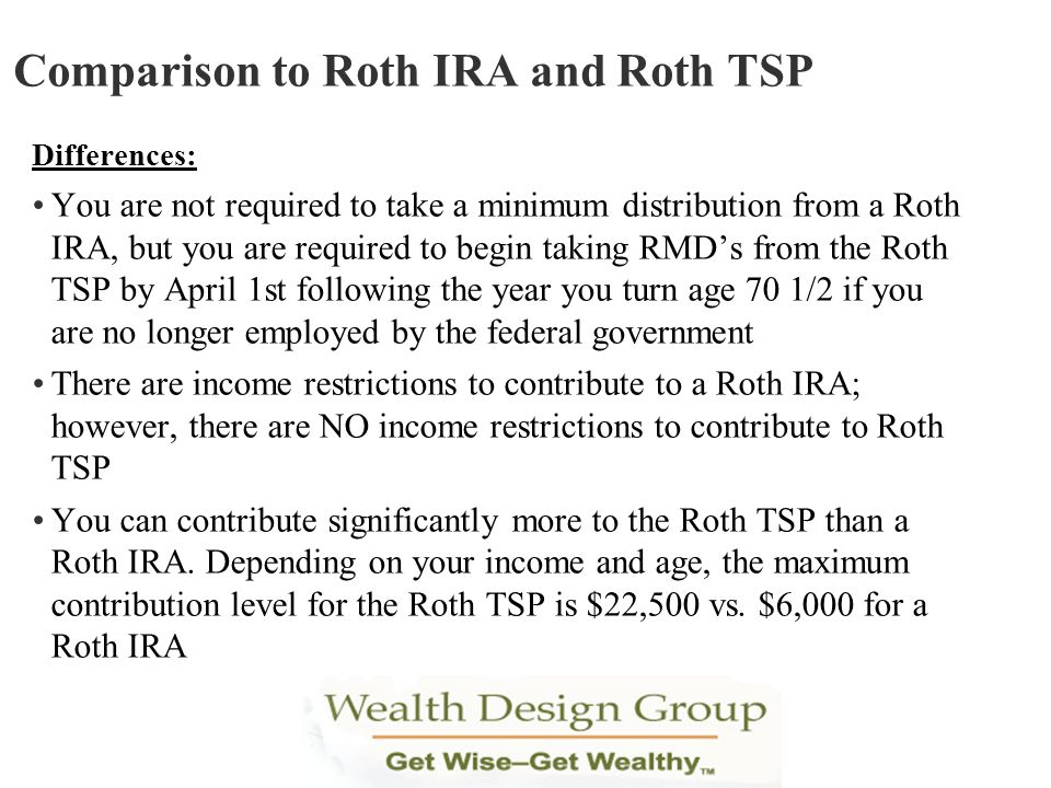 Comparison to Roth IRA and Roth TSP