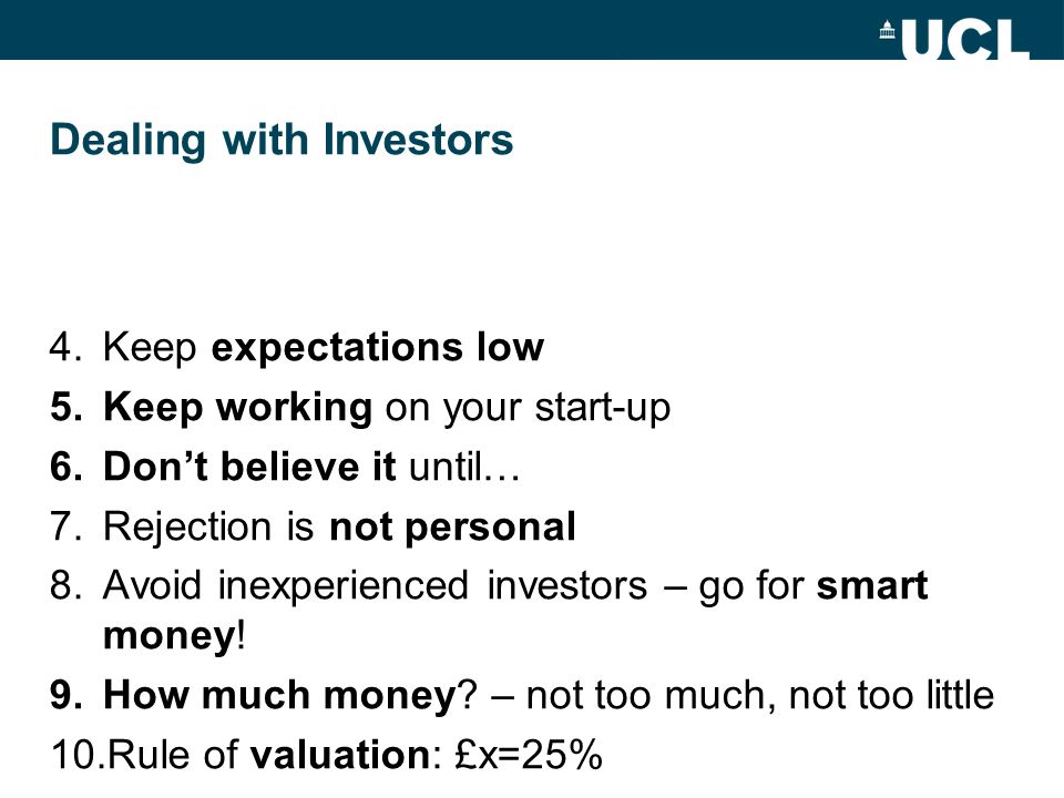 Dealing with Investors
