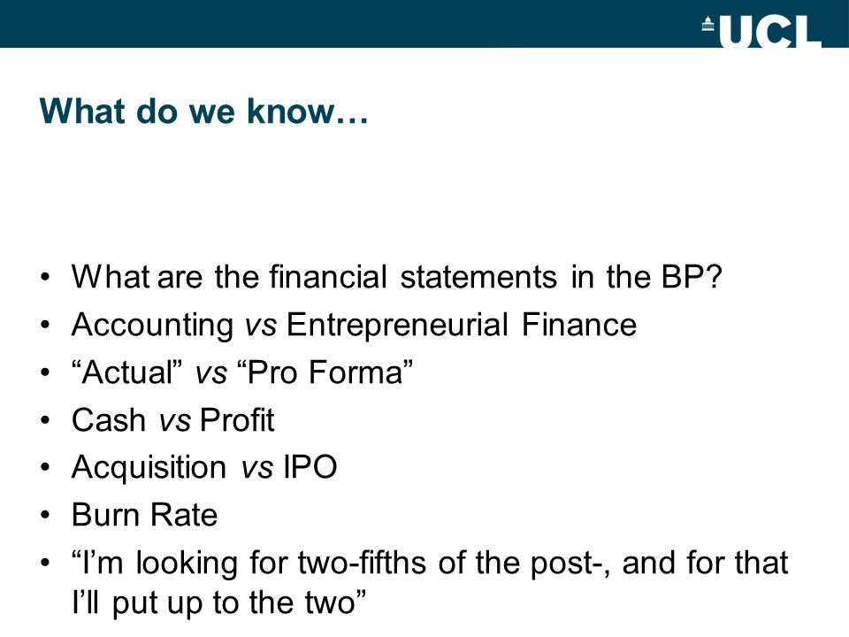 What do we know… What are the financial statements in the BP