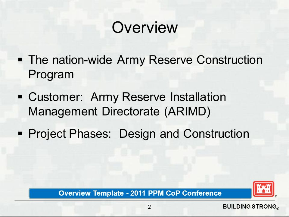 Overview Template - 2011 PPM CoP Conference