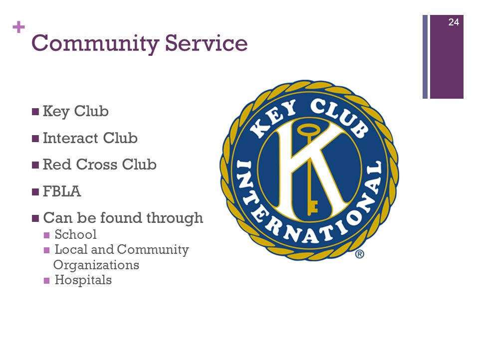 Community Service Key Club Interact Club Red Cross Club FBLA