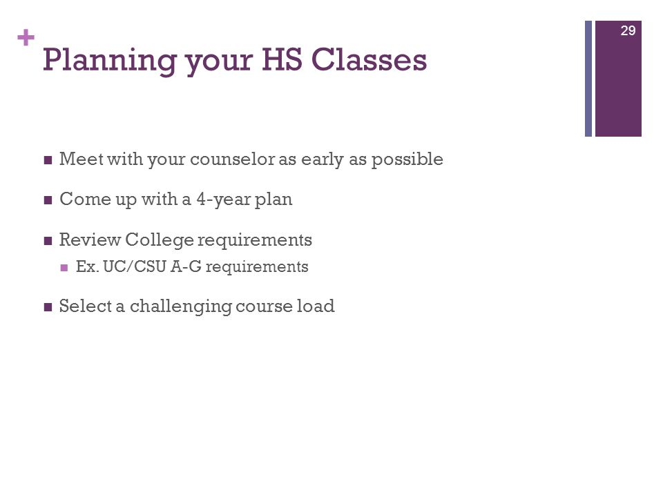 Planning your HS Classes