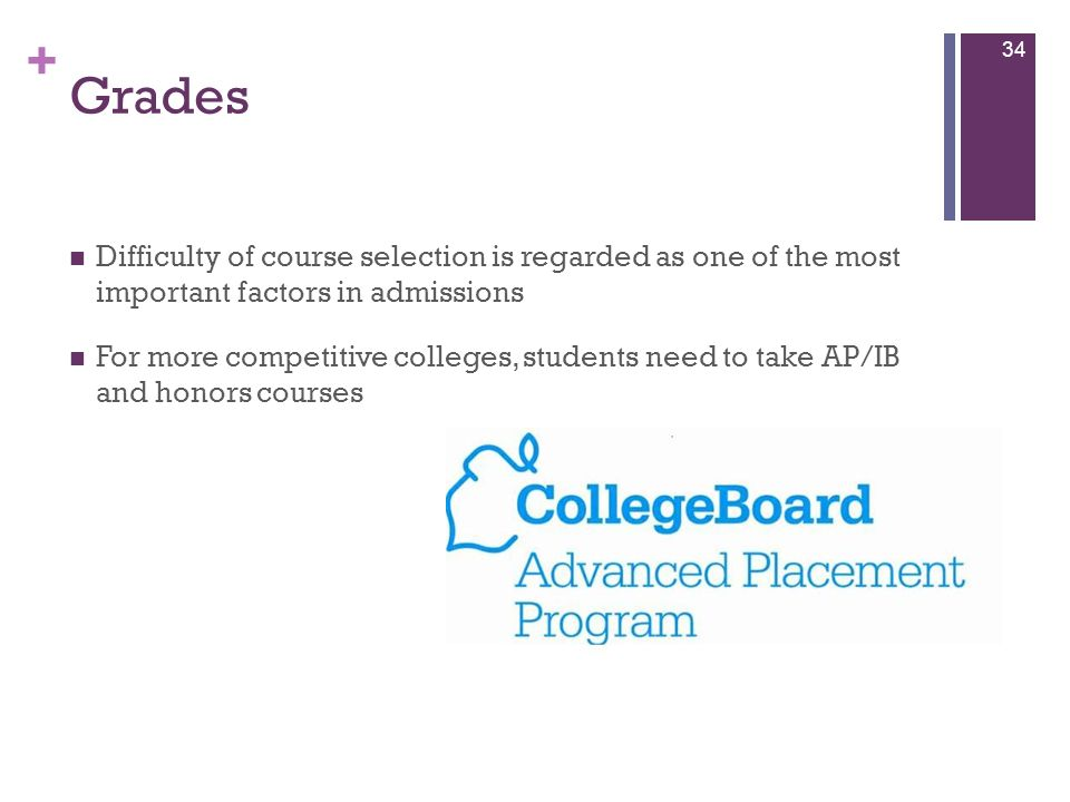 Grades Difficulty of course selection is regarded as one of the most important factors in admissions.