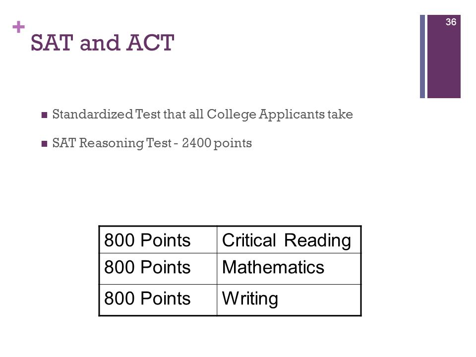 SAT and ACT 800 Points Critical Reading Mathematics Writing