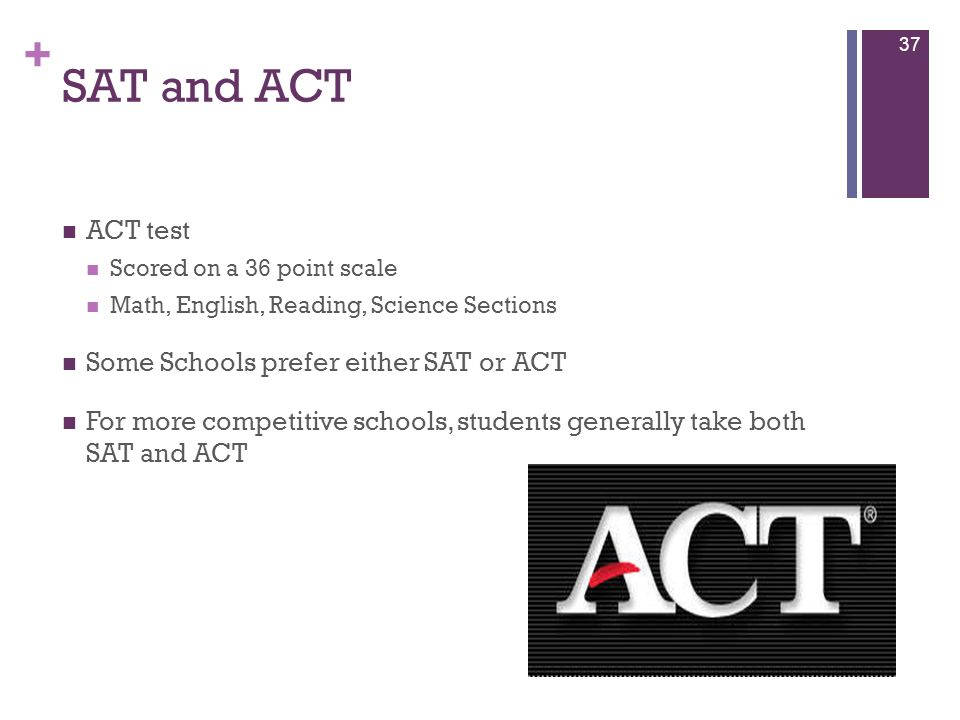 SAT and ACT ACT test Some Schools prefer either SAT or ACT