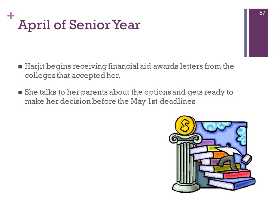 April of Senior Year Harjit begins receiving financial aid awards letters from the colleges that accepted her.