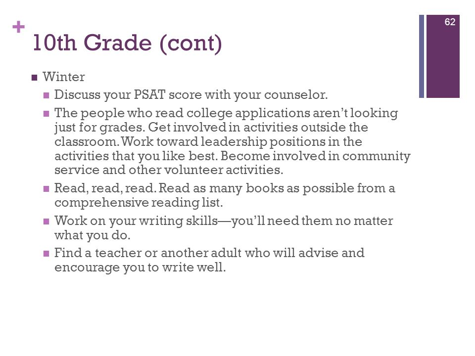 10th Grade (cont) Winter Discuss your PSAT score with your counselor.