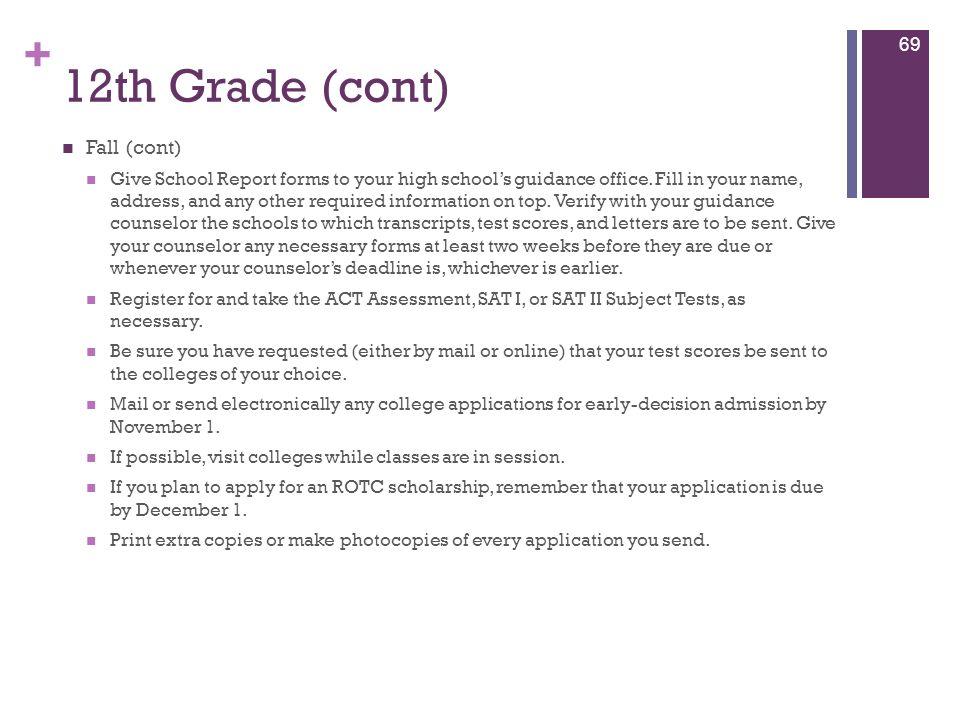 12th Grade (cont) Fall (cont)
