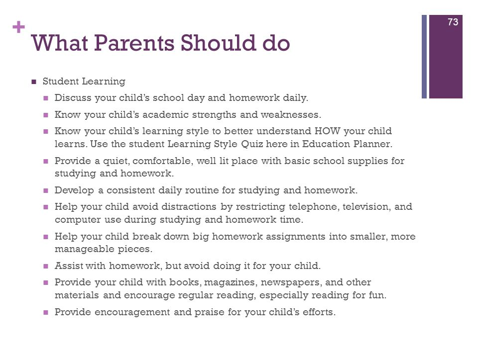 What Parents Should do Student Learning