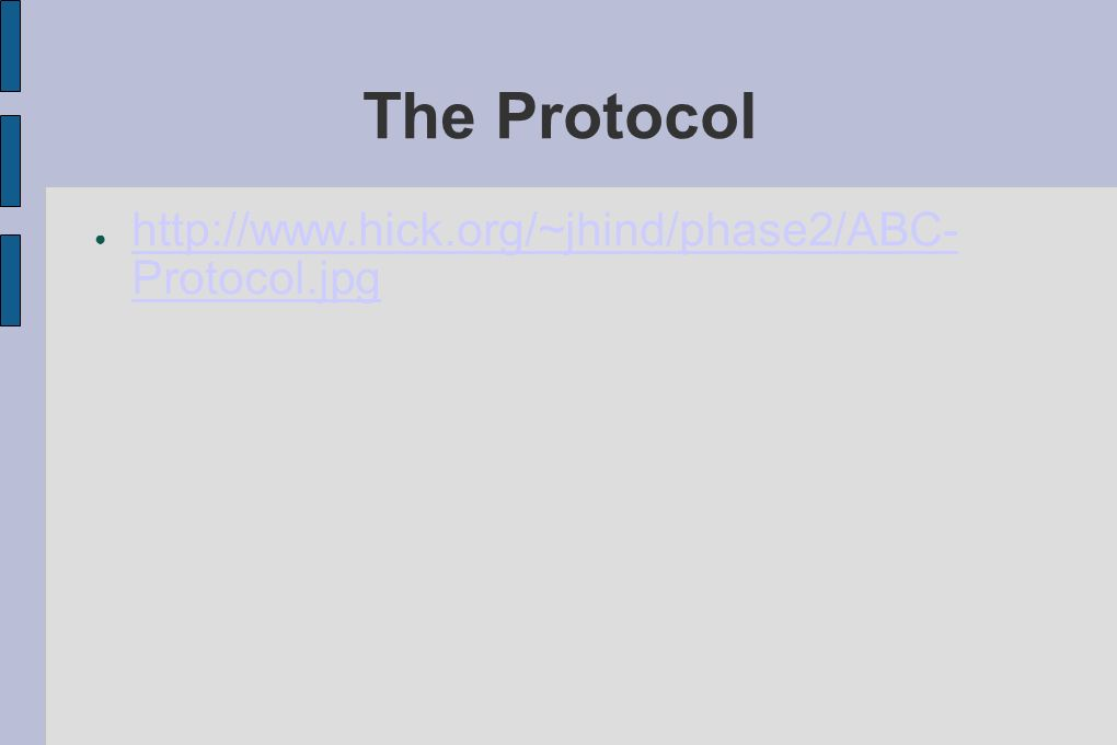The Protocol http://www.hick.org/~jhind/phase2/ABC-Protocol.jpg