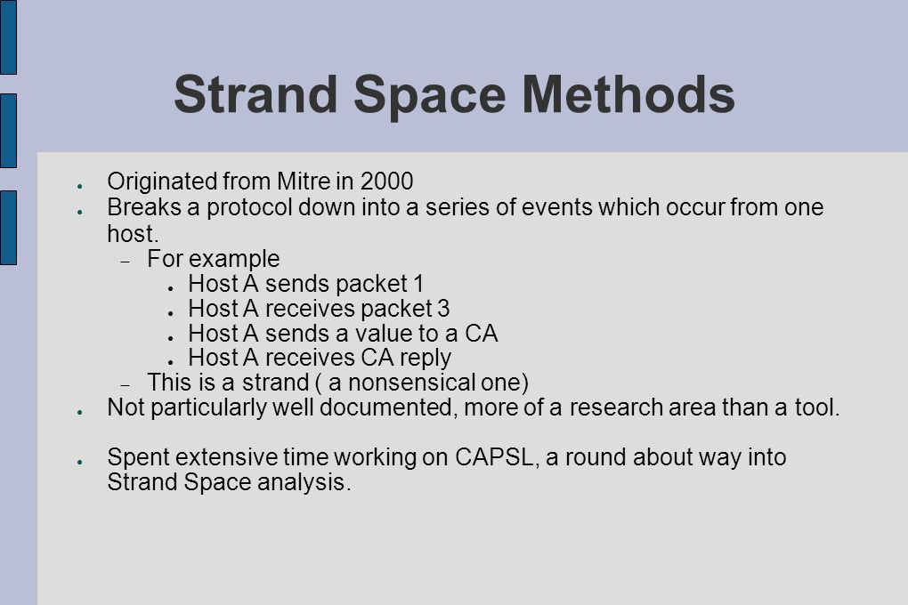 Strand Space Methods Originated from Mitre in 2000