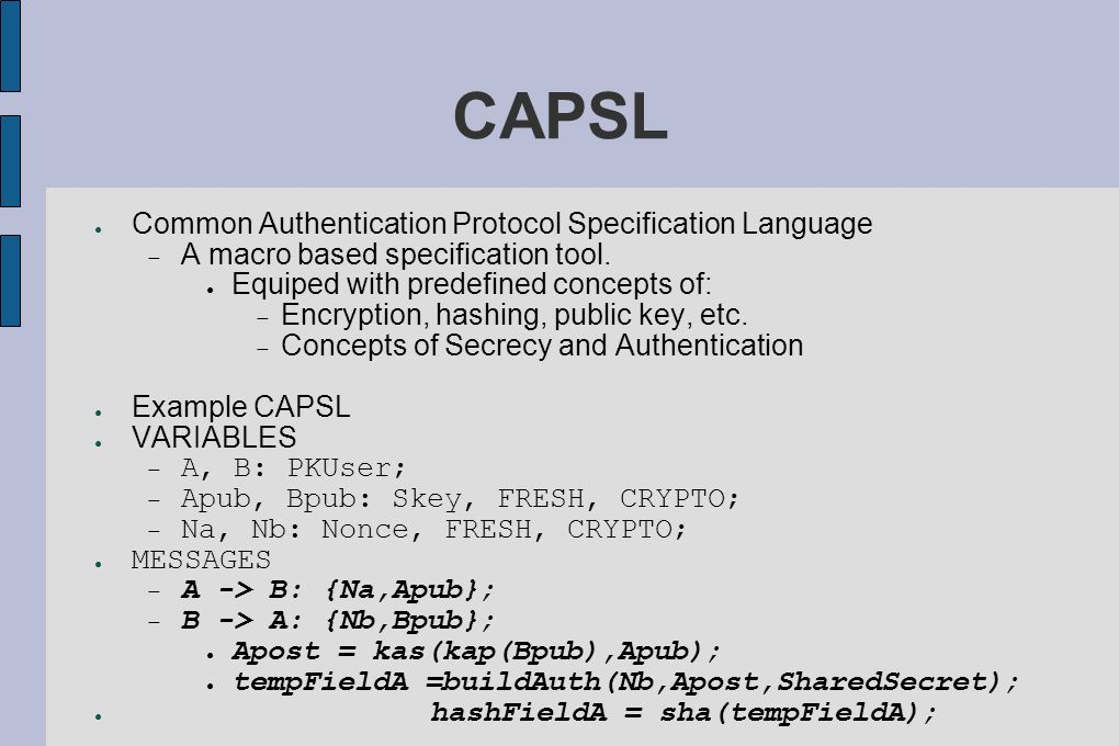 CAPSL Common Authentication Protocol Specification Language