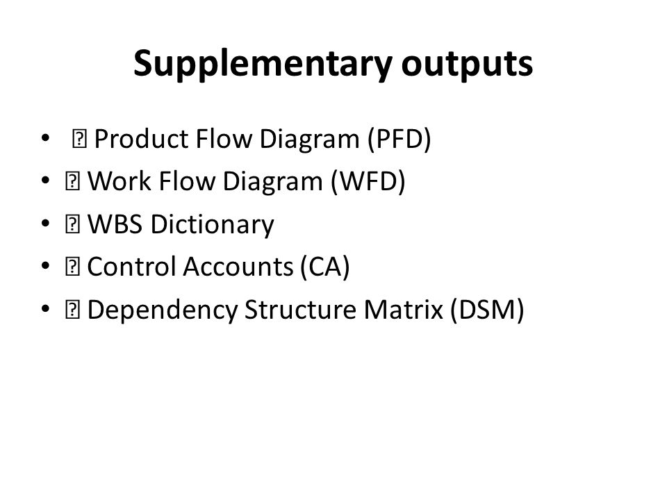 Supplementary outputs