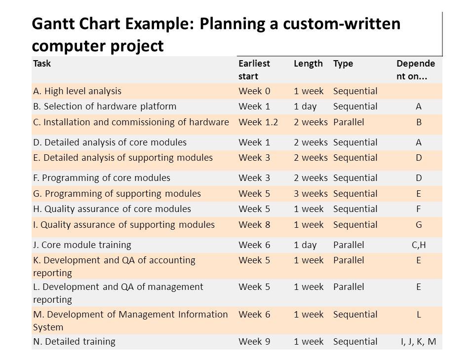 Gantt Chart Example: Planning a custom-written computer project