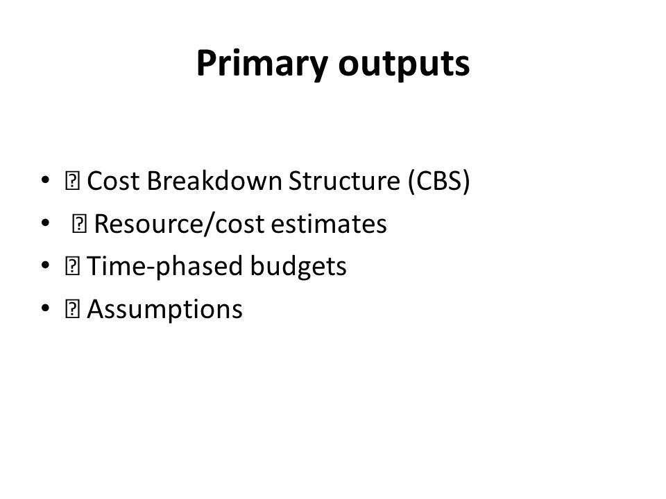 Primary outputs  Cost Breakdown Structure (CBS)