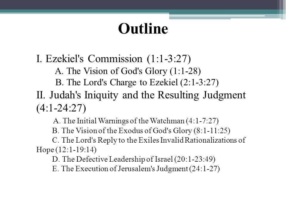 Outline I. Ezekiel s Commission (1:1-3:27)