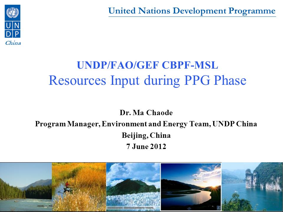 UNDP/FAO/GEF CBPF-MSL Resources Input during PPG Phase