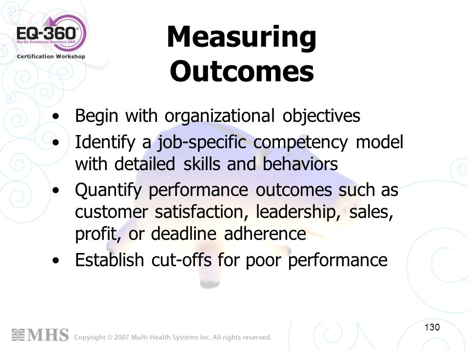 Measuring Outcomes Begin with organizational objectives