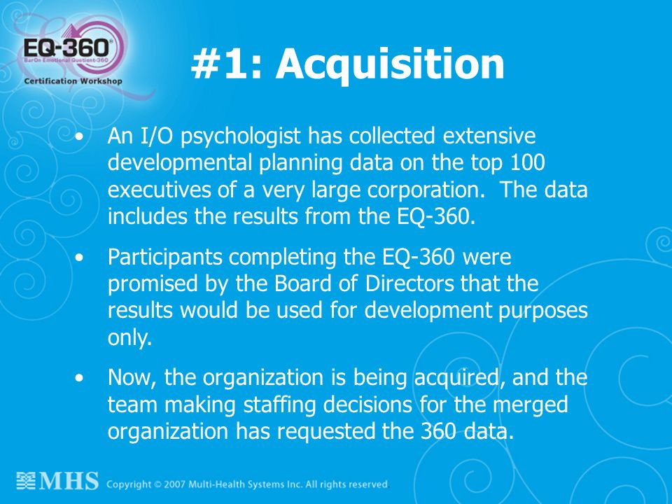 #1: Acquisition