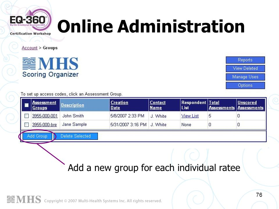 Online Administration