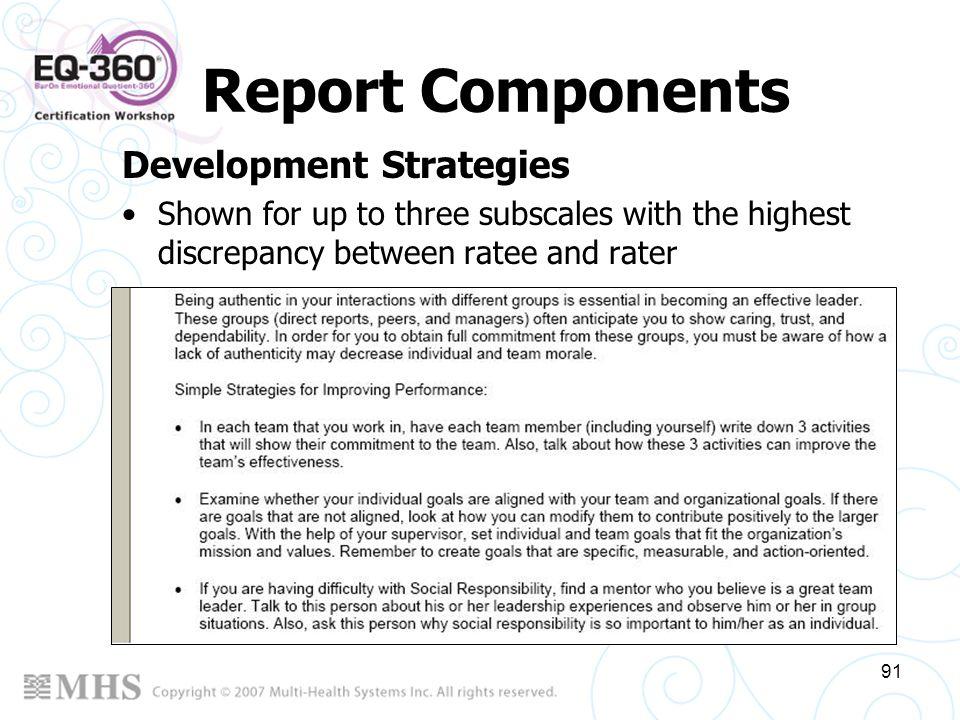 Report Components Development Strategies