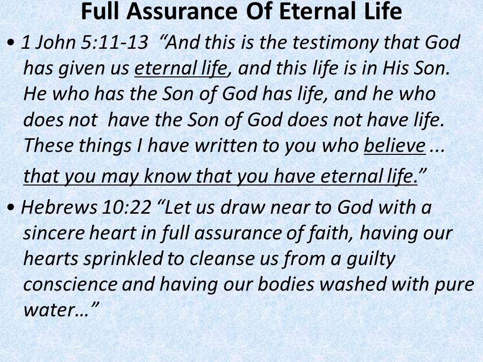Full Assurance Of Eternal Life