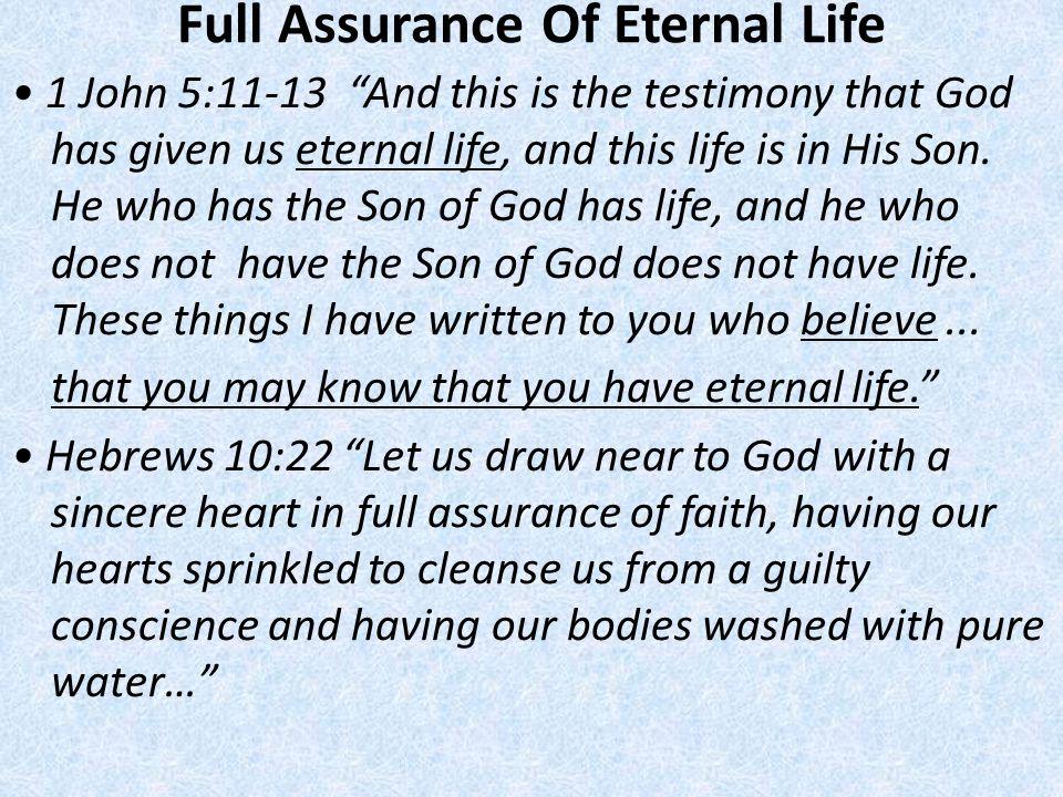 Full Assurance Of Eternal Life