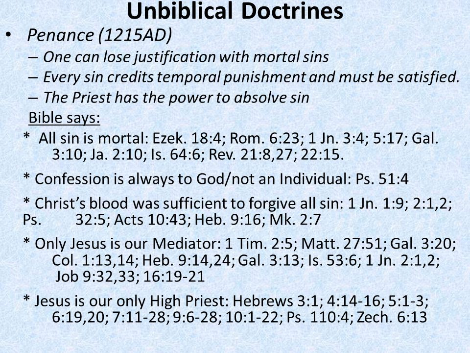 Unbiblical Doctrines Penance (1215AD)