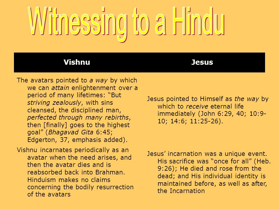 Witnessing to a Hindu Vishnu Jesus