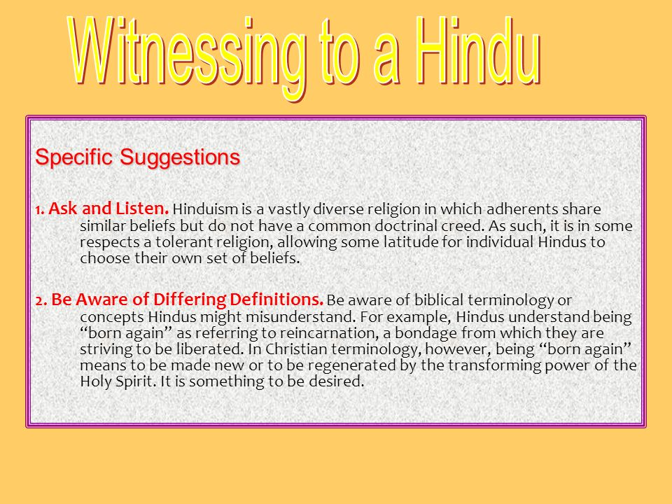 Witnessing to a Hindu Specific Suggestions