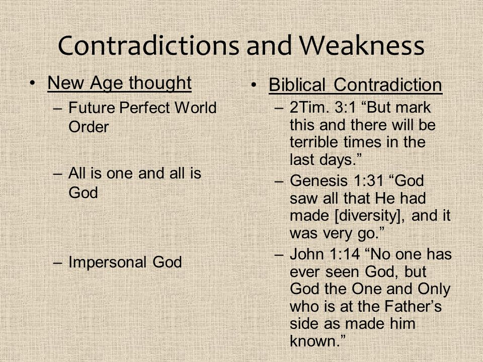 Contradictions and Weakness