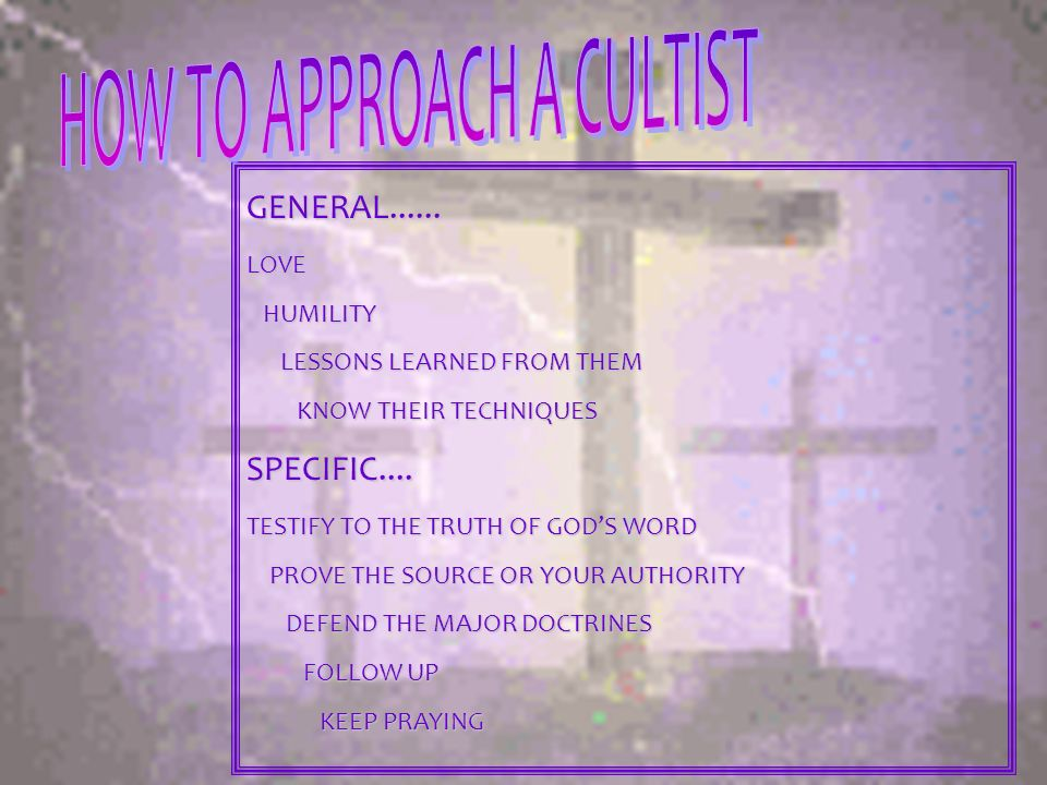 HOW TO APPROACH A CULTIST