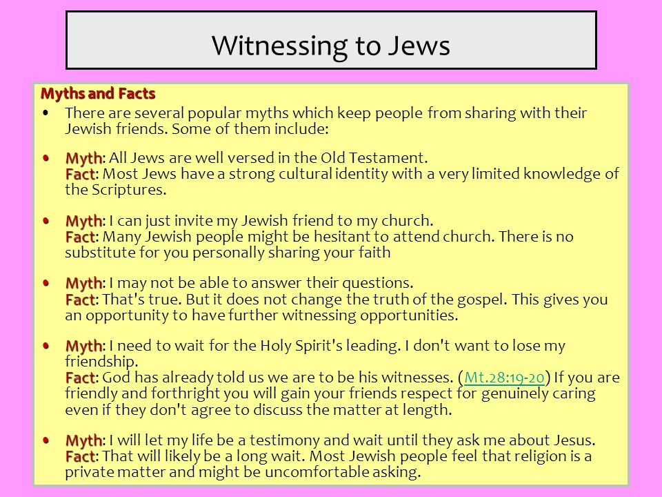 Witnessing to Jews Myths and Facts