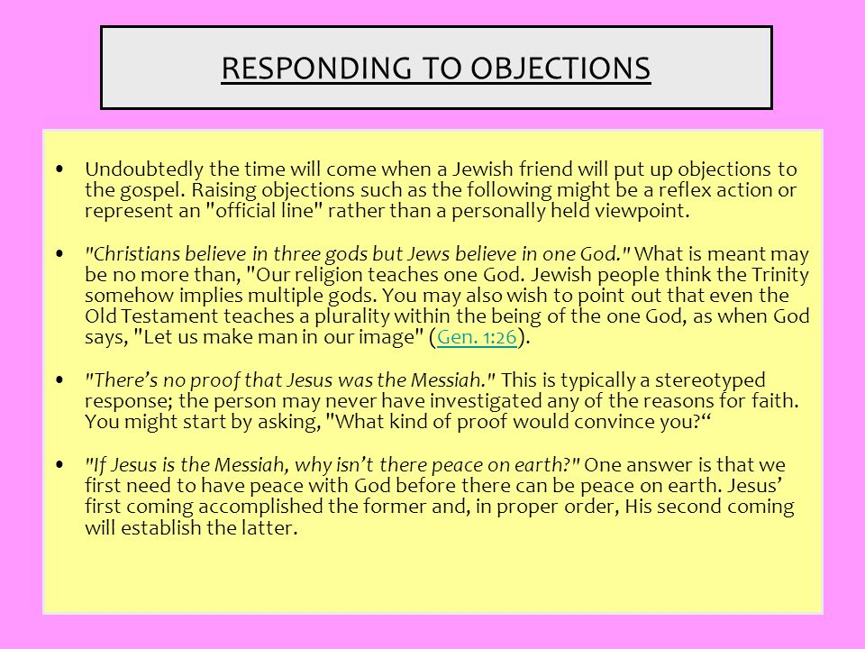 RESPONDING TO OBJECTIONS