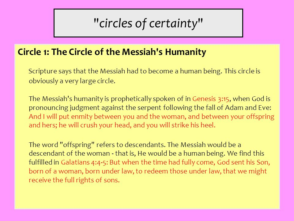 circles of certainty Circle 1: The Circle of the Messiah s Humanity.