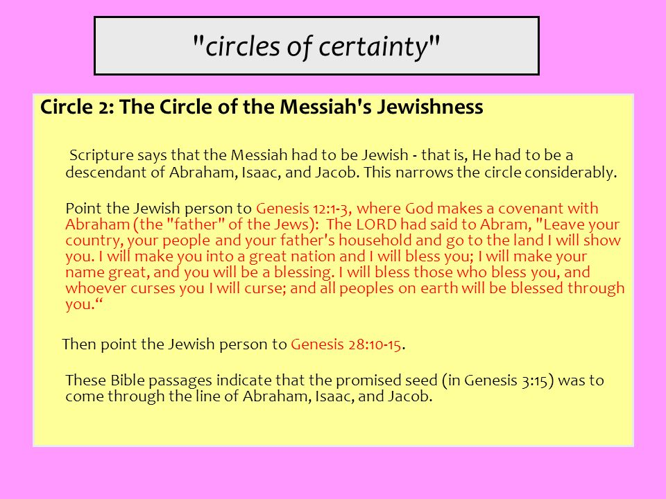 circles of certainty Circle 2: The Circle of the Messiah s Jewishness.