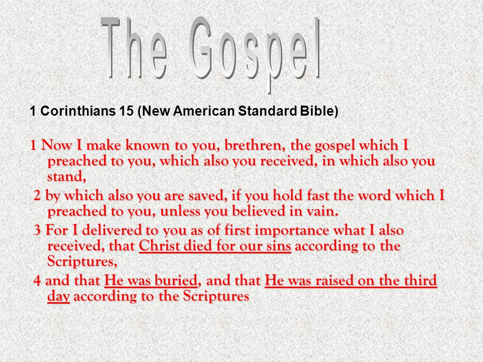 The Gospel 1 Corinthians 15 (New American Standard Bible)