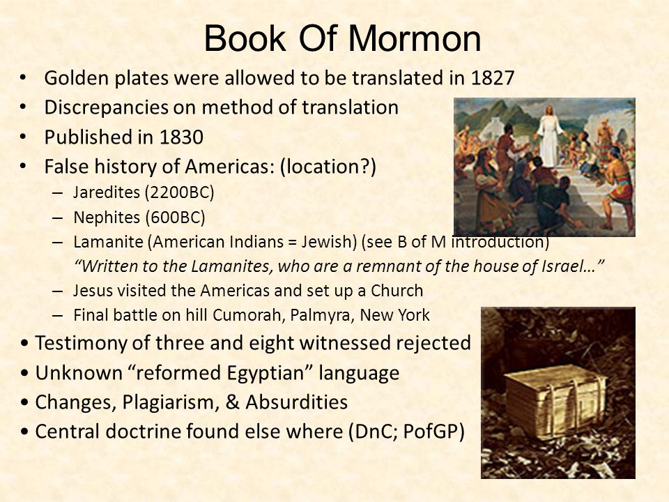 Book Of Mormon Golden plates were allowed to be translated in 1827