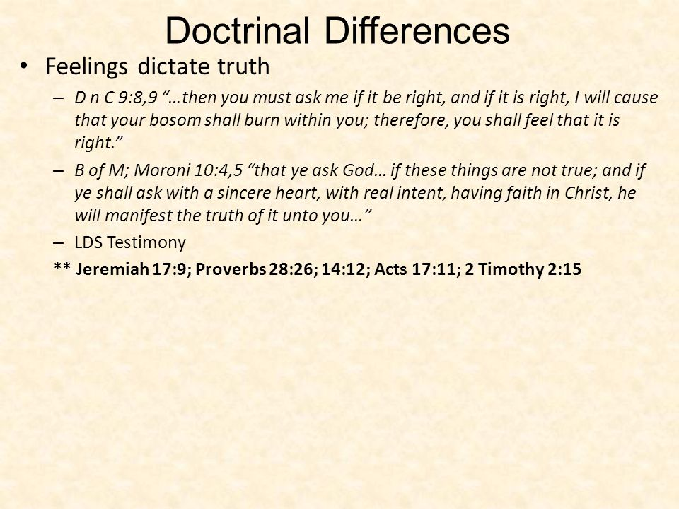 Doctrinal Differences