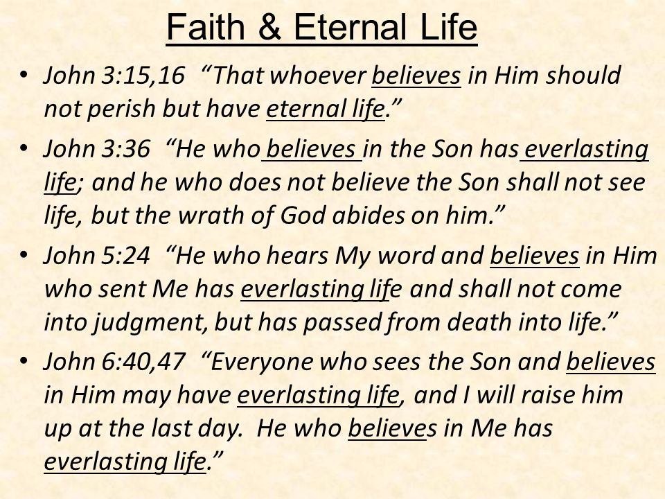 Faith & Eternal Life John 3:15,16 That whoever believes in Him should not perish but have eternal life.